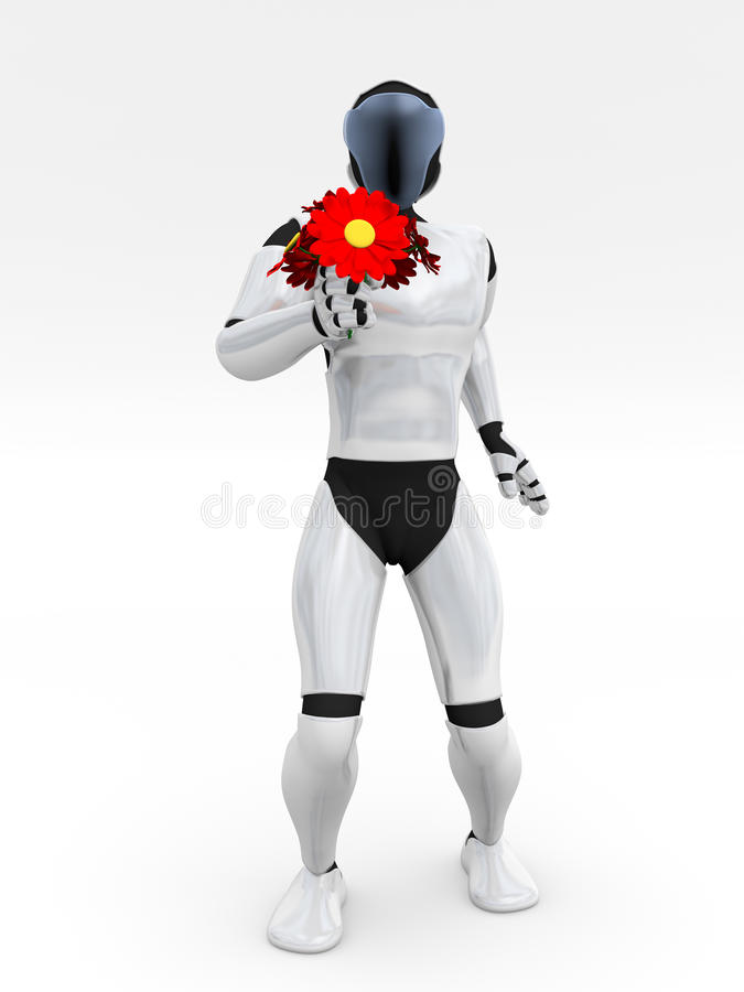 Download Humanoid giving flowers stock illustration. Illustration of proposal - 27514322