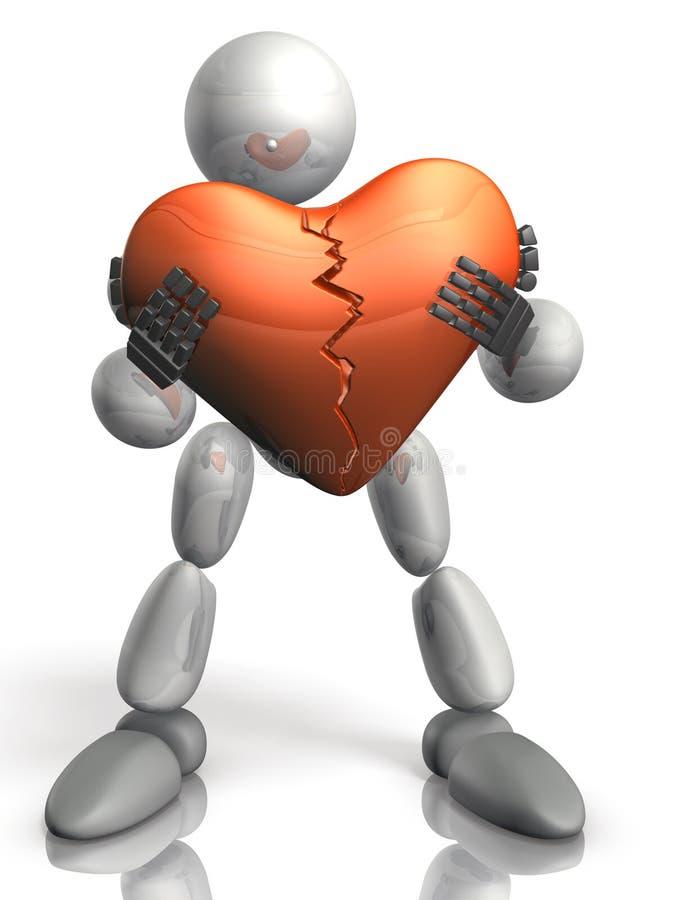 Humanoid heeft het beschadigde hart. vector illustratie