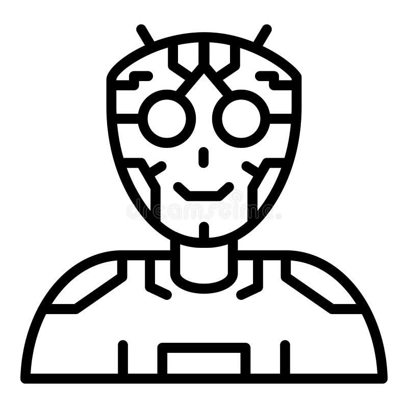Humanoid intellektsymbol för Ai, översiktsstil vektor illustrationer