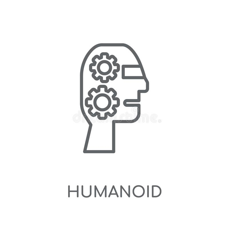 Humanoid lineare Ikone Humanoid Logokonzept des modernen Entwurfs auf wh lizenzfreie abbildung