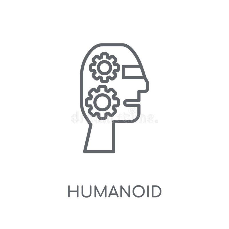 Humanoid linjär symbol Humanoid logobegrepp för modern översikt på wh royaltyfri illustrationer