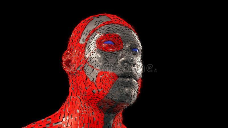 Humanoid mechaniczna głowa ilustracji