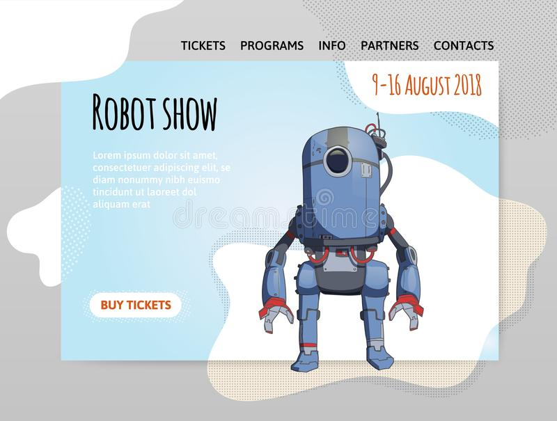 Humanoid robot, android with artificial intelligence. Robot show. Vector illutration, design template of site, header. Humanoid robot, android with artificial stock illustration