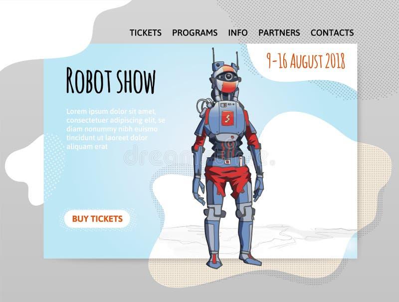 Humanoid robot, android z sztuczną inteligencją Robota przedstawienie Wektorowy illutration, projekta miejsce szablon, chodnikowi ilustracji