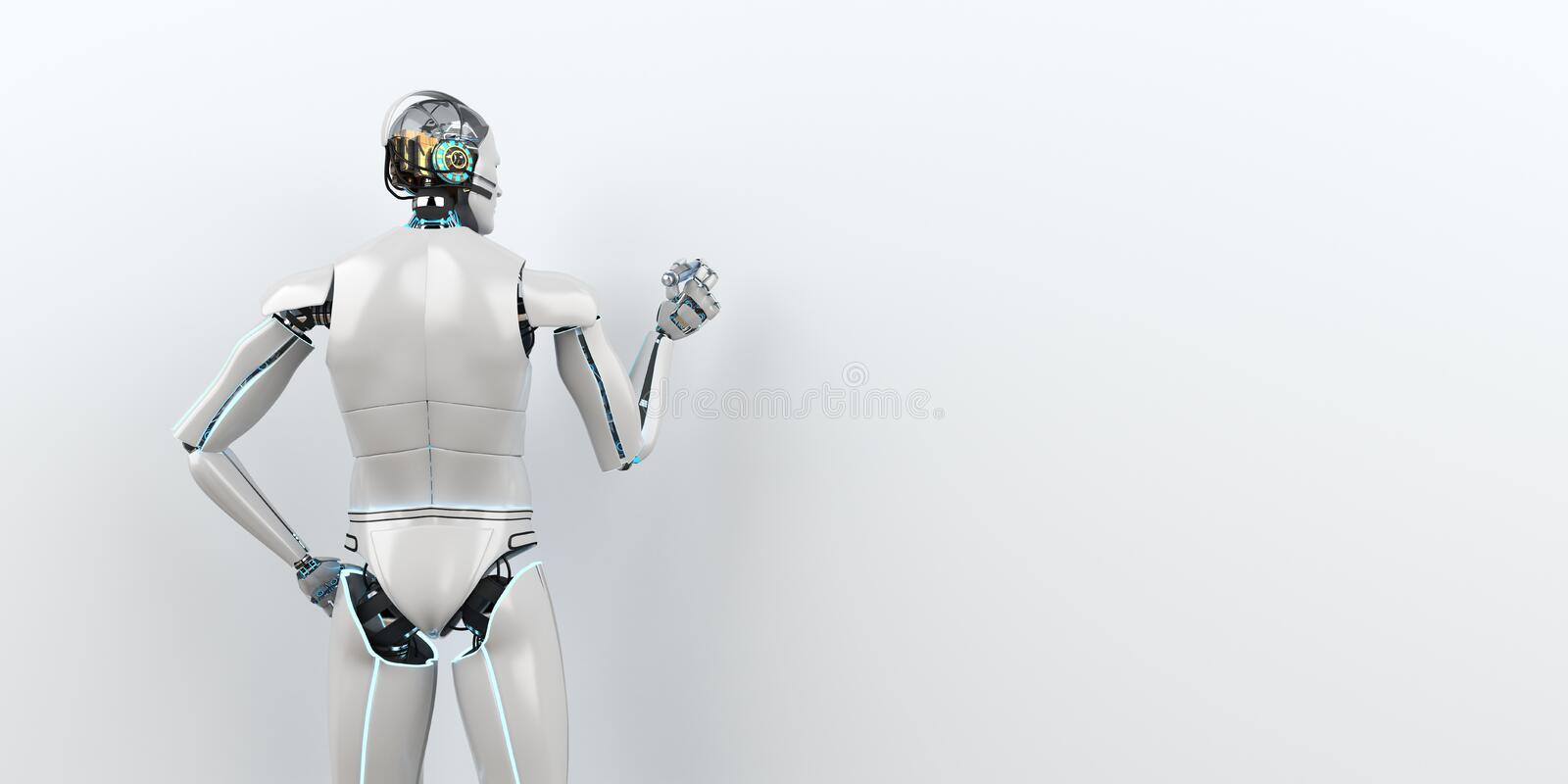 Humanoid robot advisor. Humanoid robot as advisor in front of a white board. 3d illustration royalty free illustration
