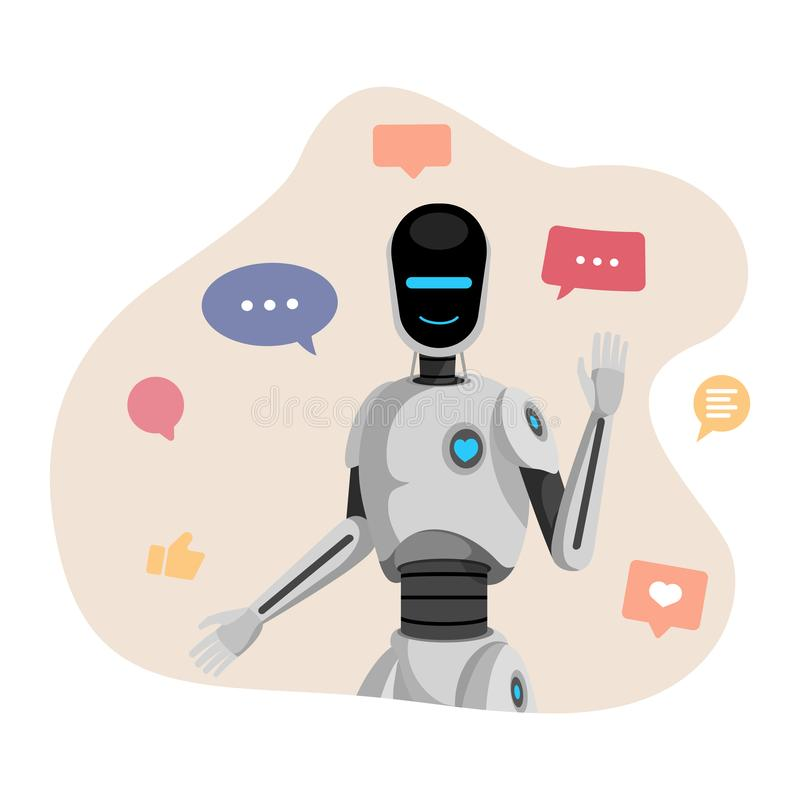 Humanoid robot, chatbot vector illustration. Artificial intelligence, friendly cyborg waving hand cartoon character vector illustration