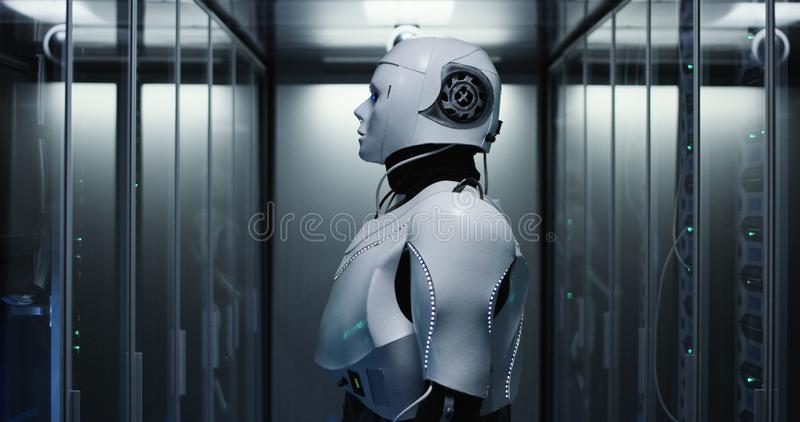 Humanoid robot checking servers in a data center. Medium shot of a humanoid robot checking servers in a data center royalty free stock photos