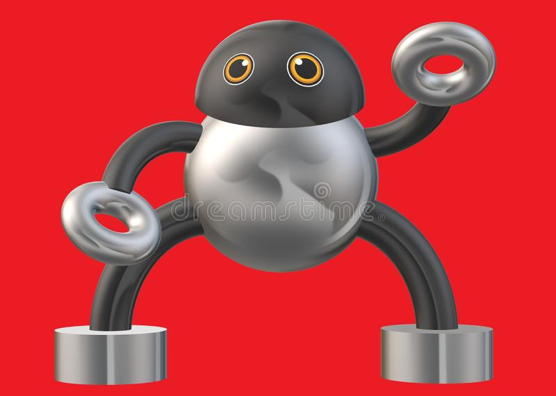 A humanoid robot constructed of simple shapes and forms against a vivid red backdrop stock image