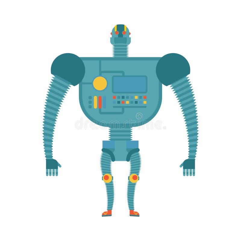 Humanoid robot Cyborg odizolowywający Elektroniczny żelazny mężczyzna na białych półdupkach royalty ilustracja