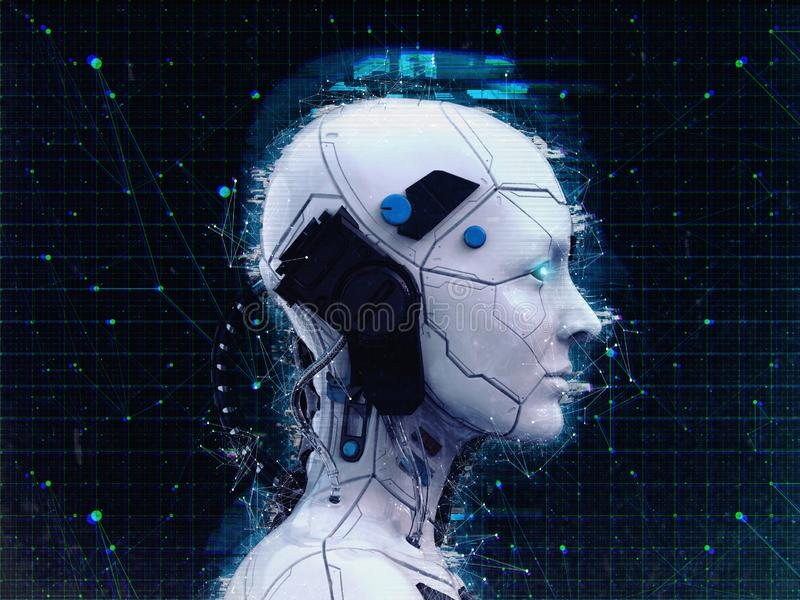 Humanoid robot dziewczyny Sztucznej inteligencji tło - 3d renderlpaper-3D odpłacają się ilustracji
