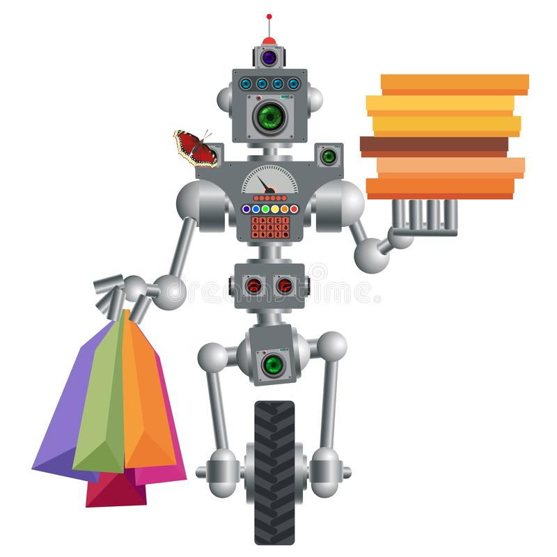 Humanoid robot, electronic computer device. Helper man. Humanoid robot, electronic computer device. Delivers pizza and products on request. It works quickly and stock illustration