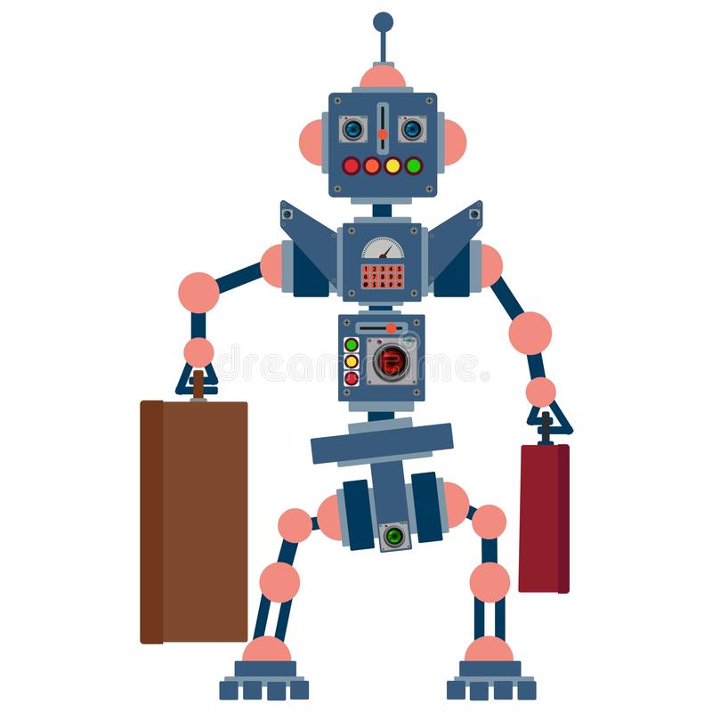 Humanoid robot, electronic computer device. Helper man. Vector illustration royalty free illustration