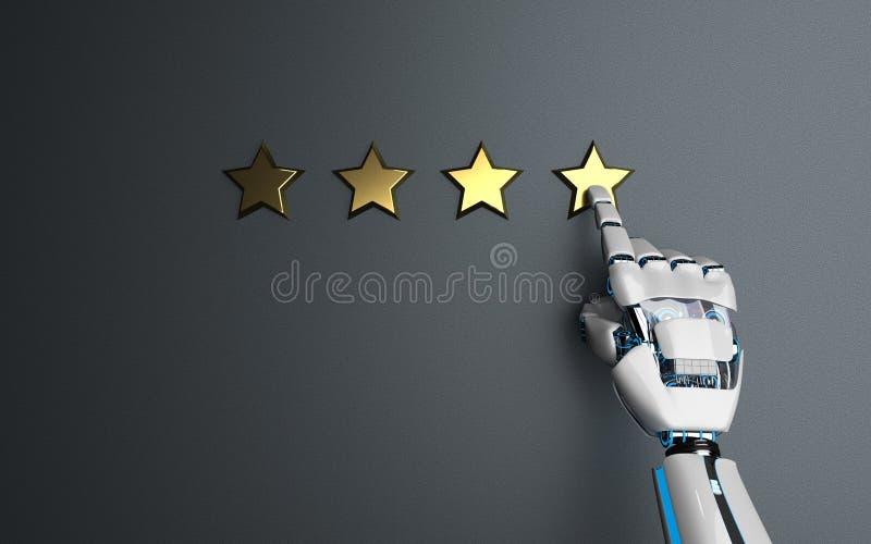 Humanoid Robot Golden Stars Rating stock illustration