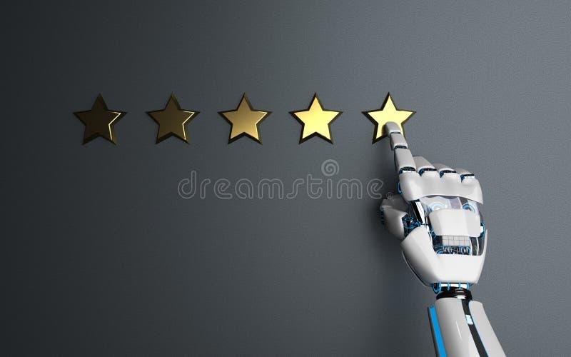 Humanoid Robot Golden Stars Rating vector illustration