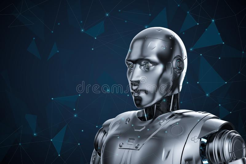 Humanoid robot with graphic connect royalty free illustration
