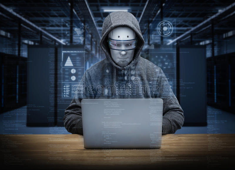 Humanoid robot hacker vector illustration