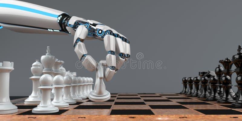 Humanoid Robot Hand Chessboard vector illustration