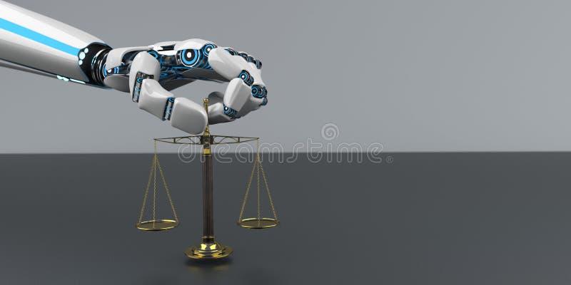 Robot Hand Beam Balance royalty free illustration