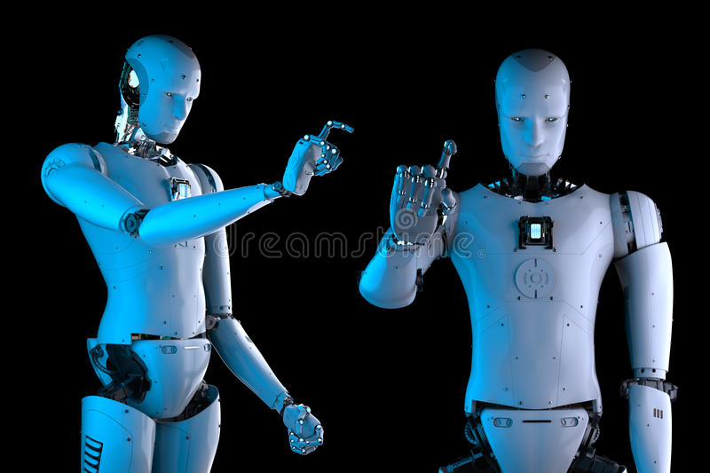 Humanoid robot hand pointing. 3d rendering humanoid robot hand pointing on black background royalty free stock images