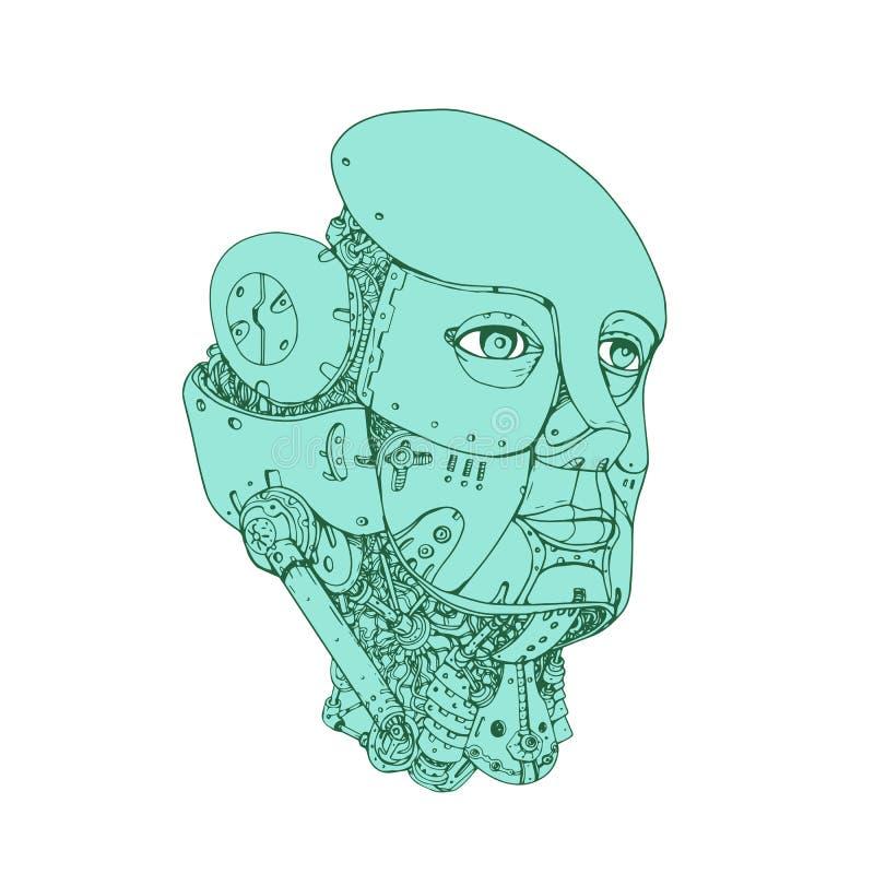 Humanoid Robot Head Female Monoline vector illustration