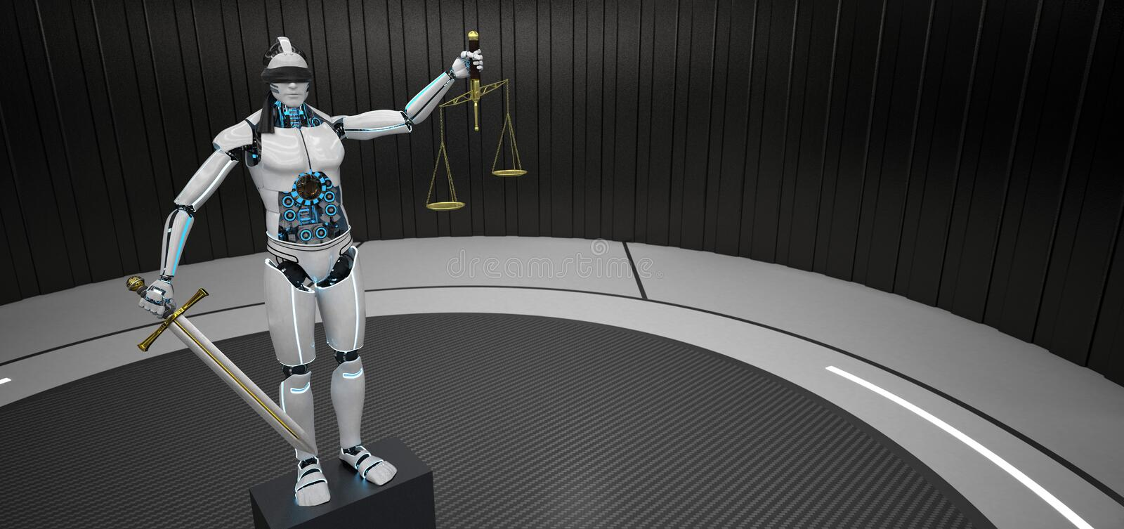 Humanoid robot Justitia stock illustrationer