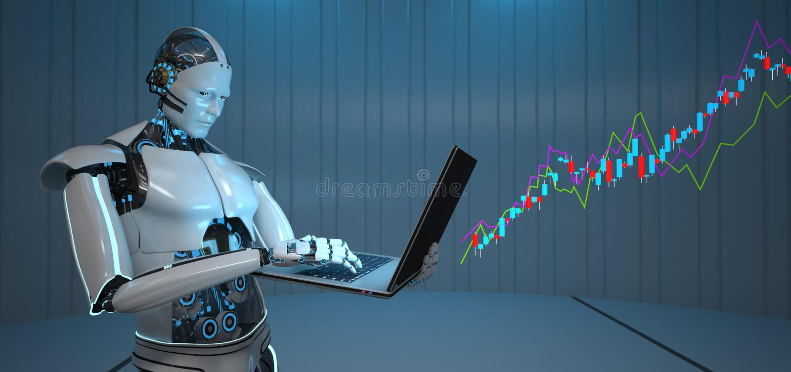 Humanoid Robot Notebook Candle Stick Chart Growth. Humanoid robot with a notebook and a growing candle stick chart stock illustration