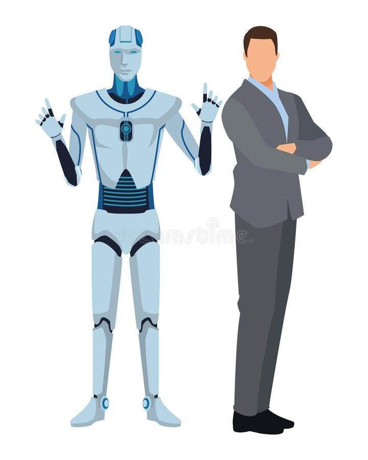 Humanoid robot och aff?rsman stock illustrationer