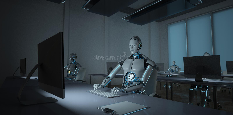 Humanoid Robot Office vector illustration