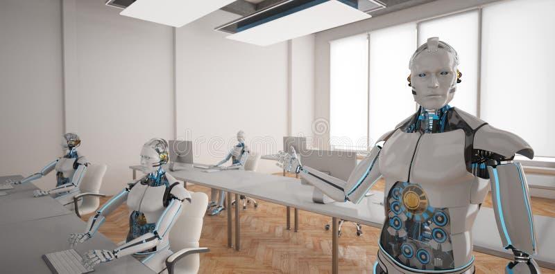 Humanoid robot otwartej przestrzeni biuro ilustracji
