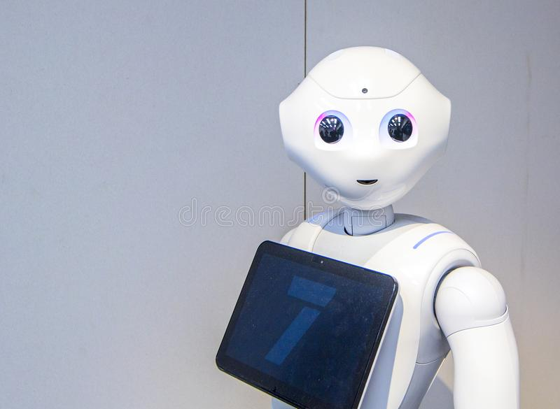 Humanoid robot Pepper exhibited in Museum of Science and Technology Eureka in Helsinki, Finland. VANTAA, HELSINKI, FINLAND - MARÐ¡H 30, 2018: Head of humanoid royalty free stock photos