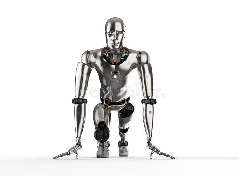 Humanoid robot running. 3d rendering humanoid robot running on white background royalty free illustration