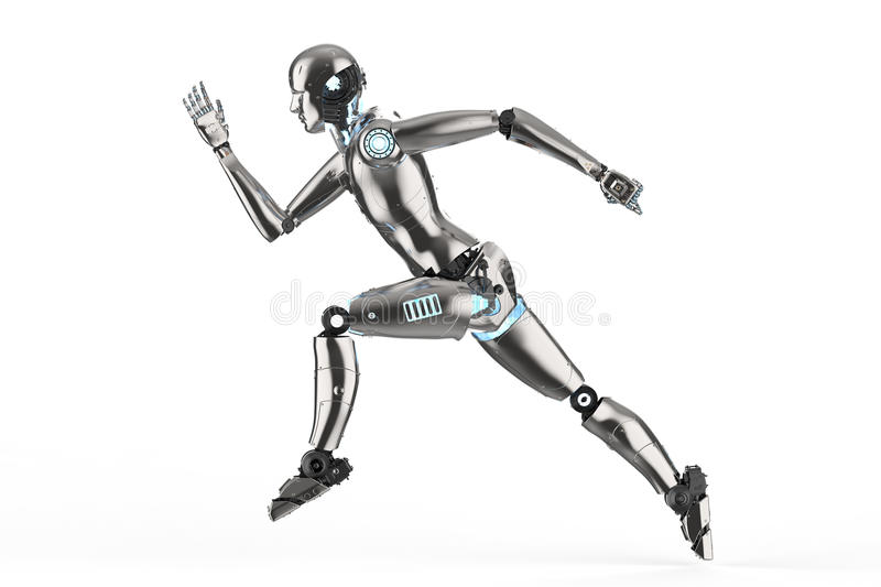Humanoid robot running royalty free illustration