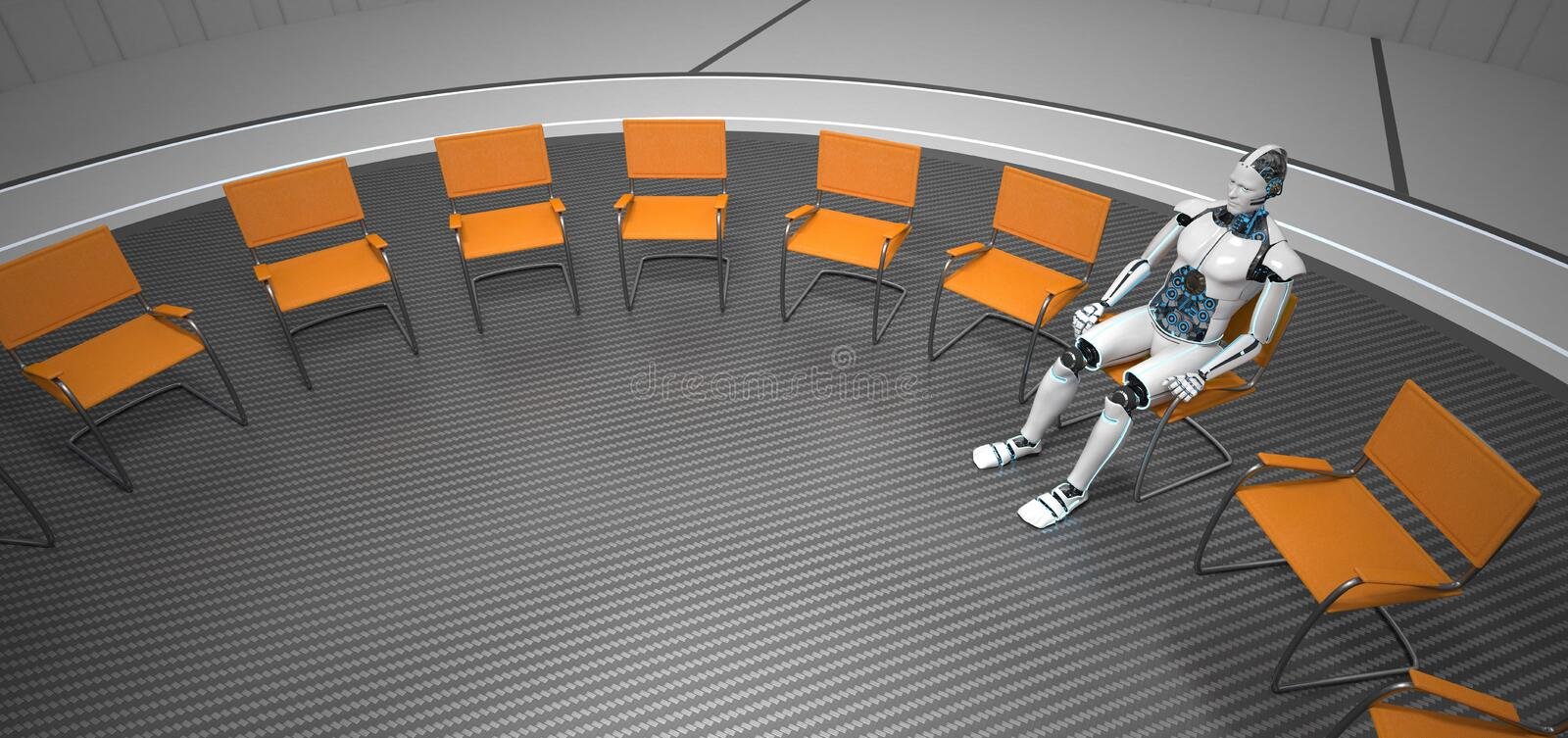 Humanoid Robot Futuristic Room royalty free stock photo