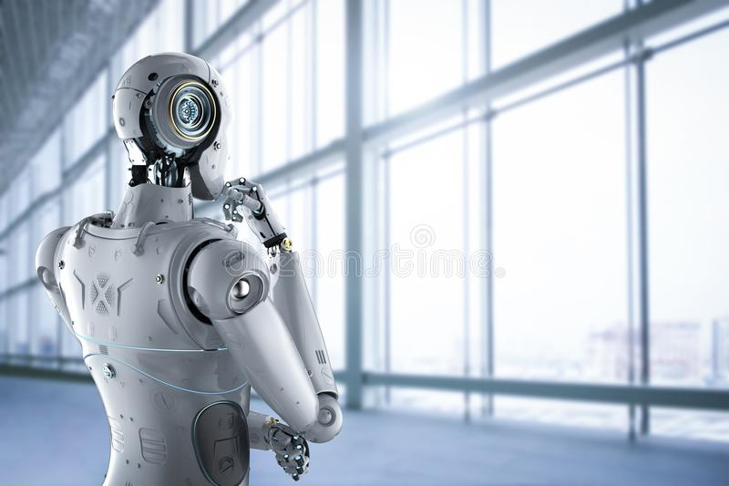 Humanoid robot thinking. 3d rendering humanoid robot thinking on office background royalty free stock image