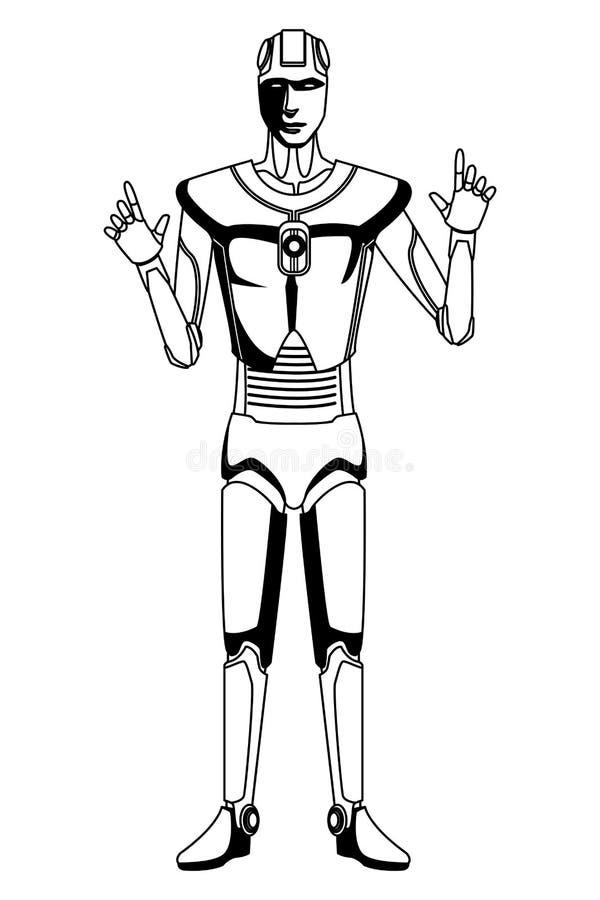 Humanoid robota avatar czarny i bia?y ilustracja wektor