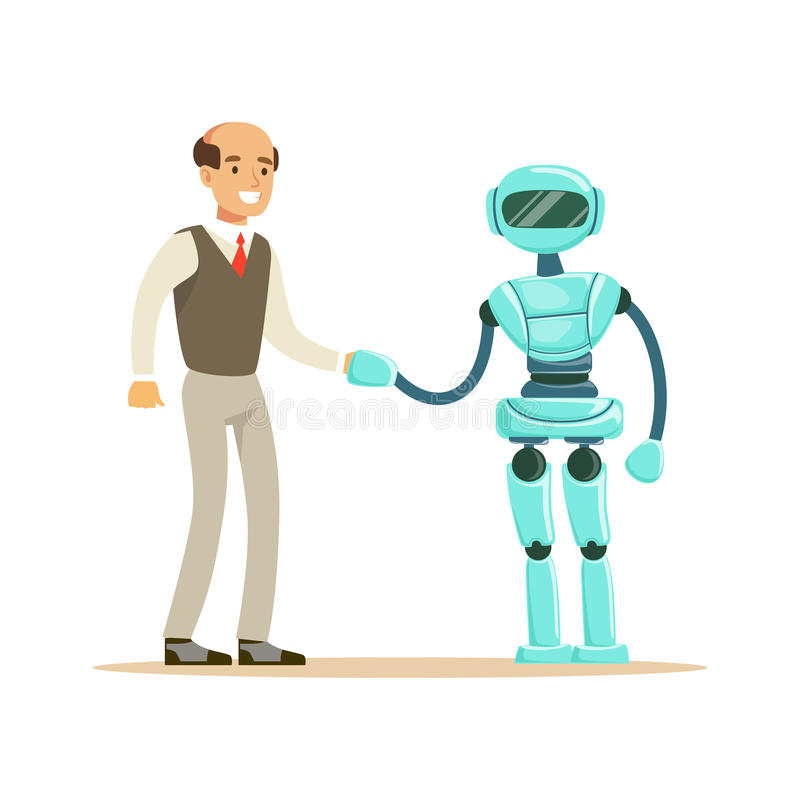 Humanoid robota chwiania ręka z biznesmenem przyszłościowa technologii pojęcia wektoru ilustracja ilustracja wektor