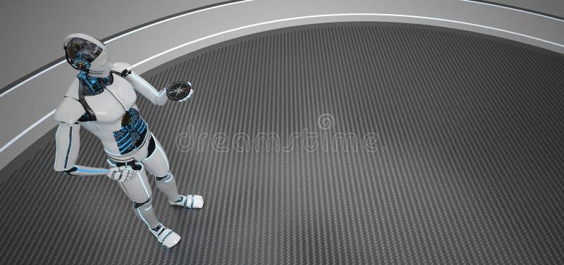 Humanoid robota kompas royalty ilustracja