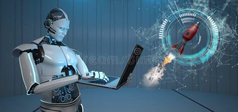 Humanoid robota notatnika rakieta royalty ilustracja