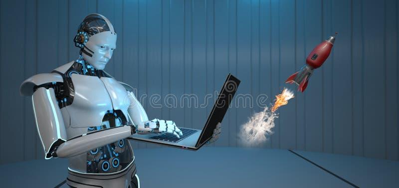 Humanoid robotanteckningsbokraket royaltyfri illustrationer