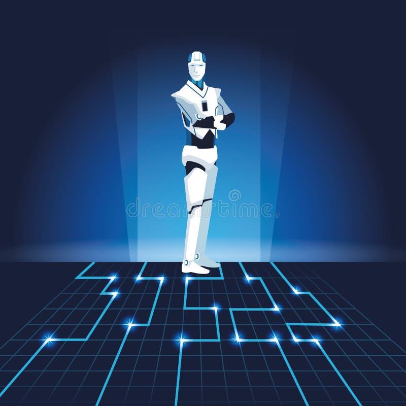 Humanoid robotavatar stock illustrationer