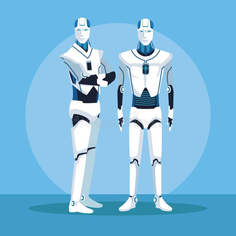 Humanoid robotavatar royaltyfri illustrationer