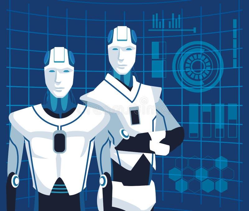 Humanoid robotavatar vektor illustrationer