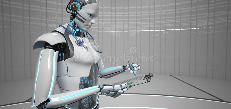 Humanoid Roboter-Assistenzarzt lizenzfreie abbildung