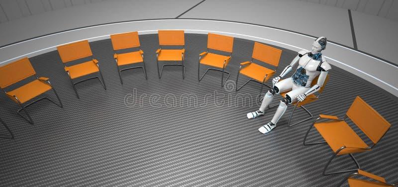 Humanoid Roboter-futuristischer Raum lizenzfreies stockfoto