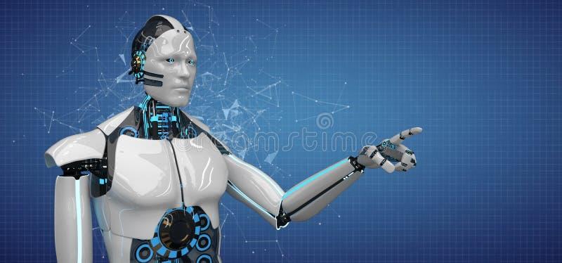 Humanoid Roboter klickt Netz an vektor abbildung