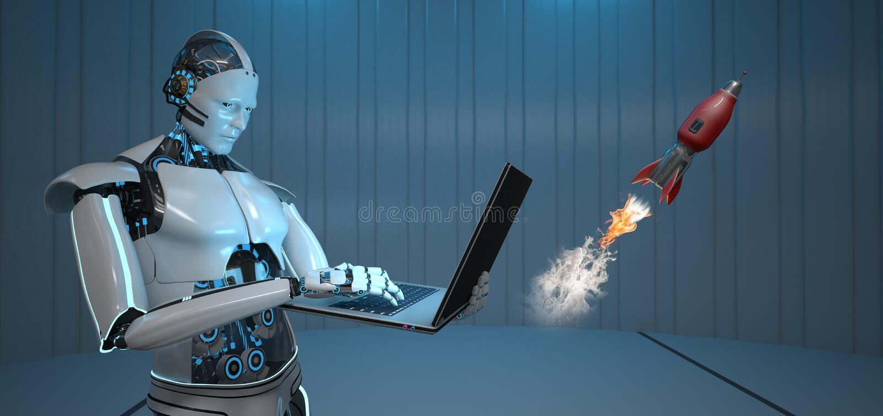 Humanoid Roboter-Notizbuch Rocket lizenzfreie abbildung