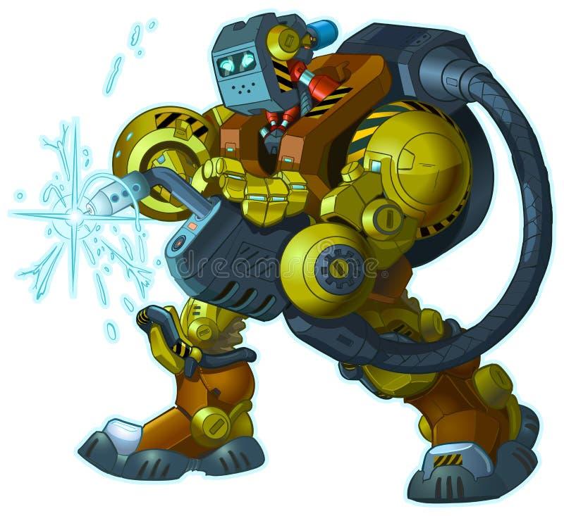 Humanoid-Roboter-Schweißer-Vector Cartoon Mascot-Illustration vektor abbildung