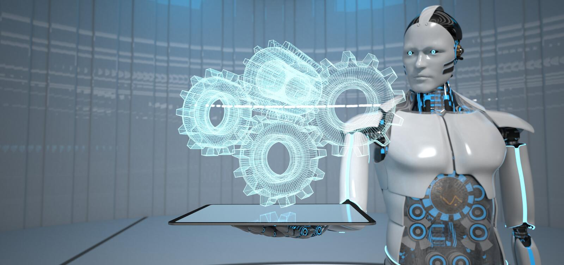 Humanoid Roboter-Tablet-PC-Gang-R?der lizenzfreie abbildung