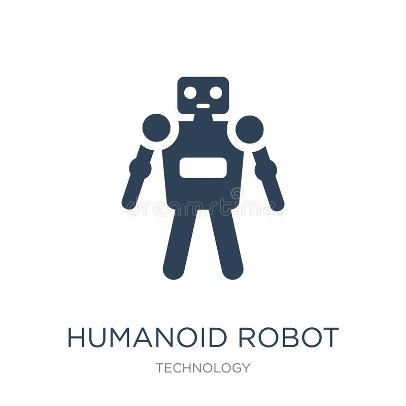 humanoid Roboterikone in der modischen Entwurfsart humanoid Roboterikone lokalisiert auf weißem Hintergrund humanoid Robotervekto lizenzfreie abbildung