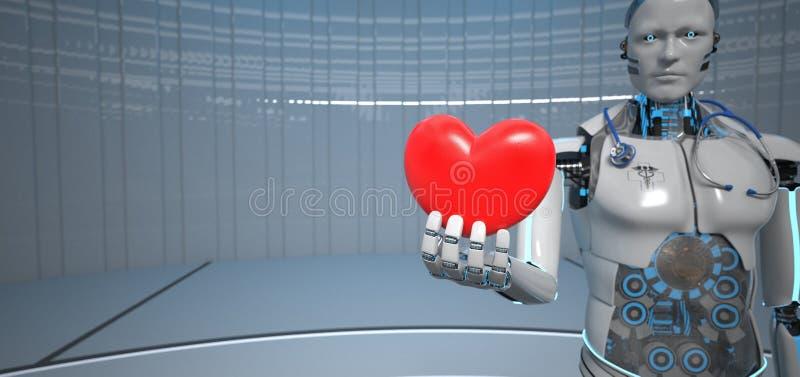 Humanoid robothjärtakardiolog stock illustrationer